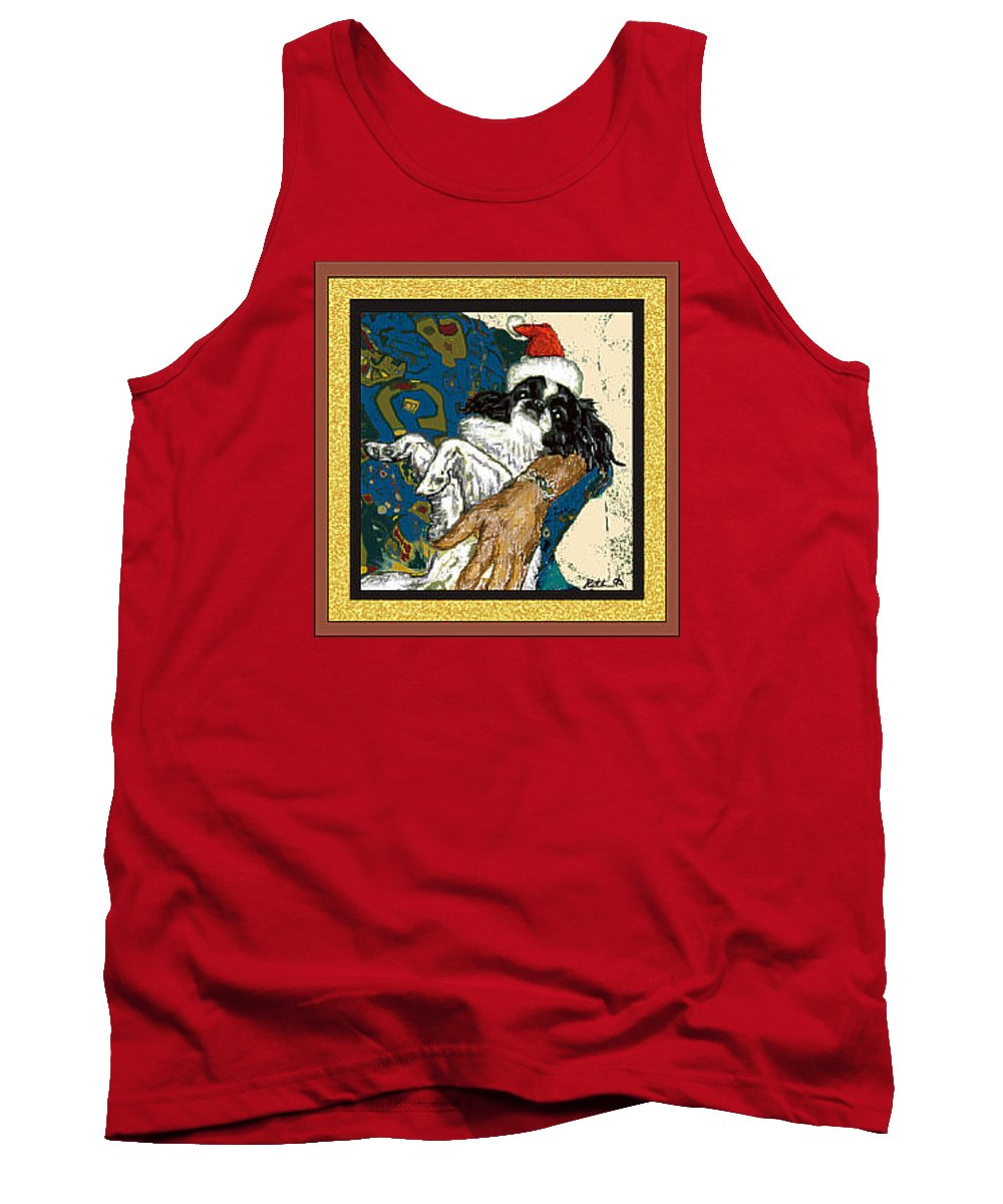 Japanese Chin Tank Top featuring the digital art Japanese Chin Christmas by Kathleen Sepulveda