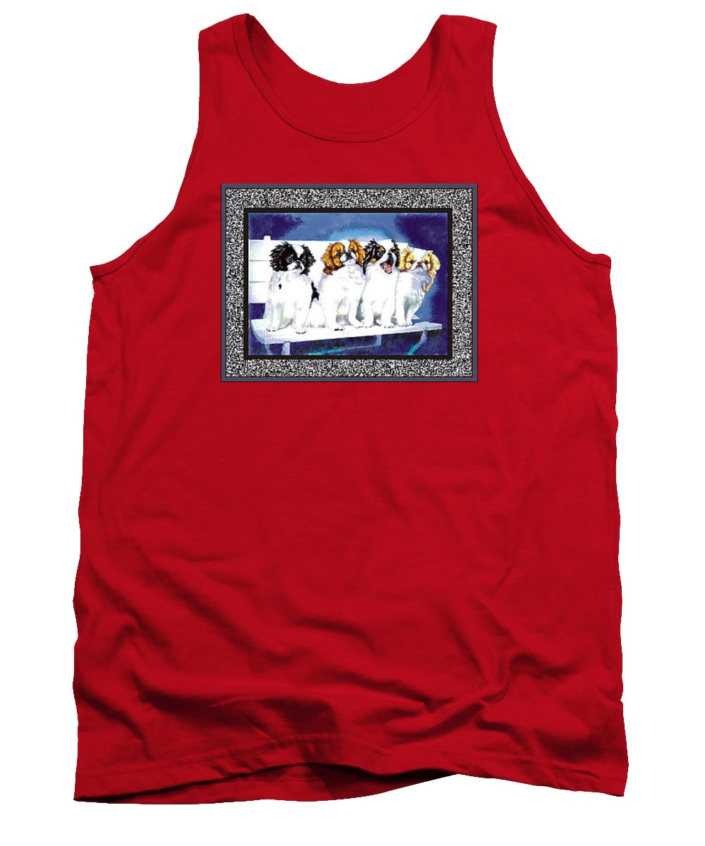 Japanese Chin Tank Top featuring the digital art Japanese Chin Puppies by Kathleen Sepulveda