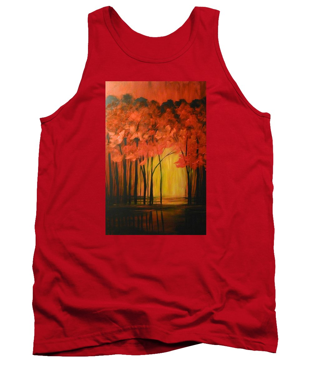 Abstract Tank Top featuring the painting Japanese Forest by Sabina Surya Naya