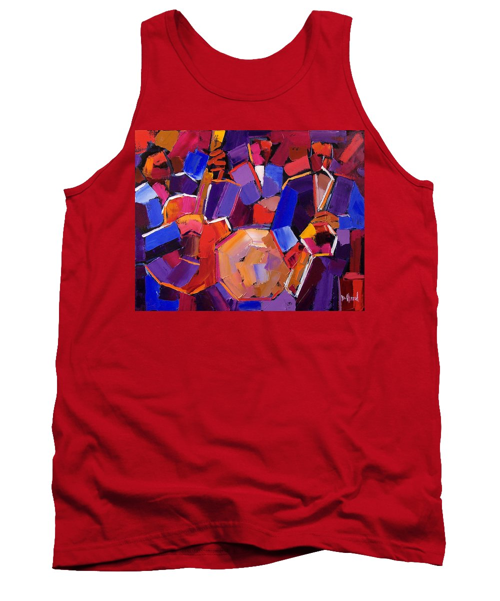 Jazz Tank Top featuring the painting Jazz Angles Two by Debra Hurd