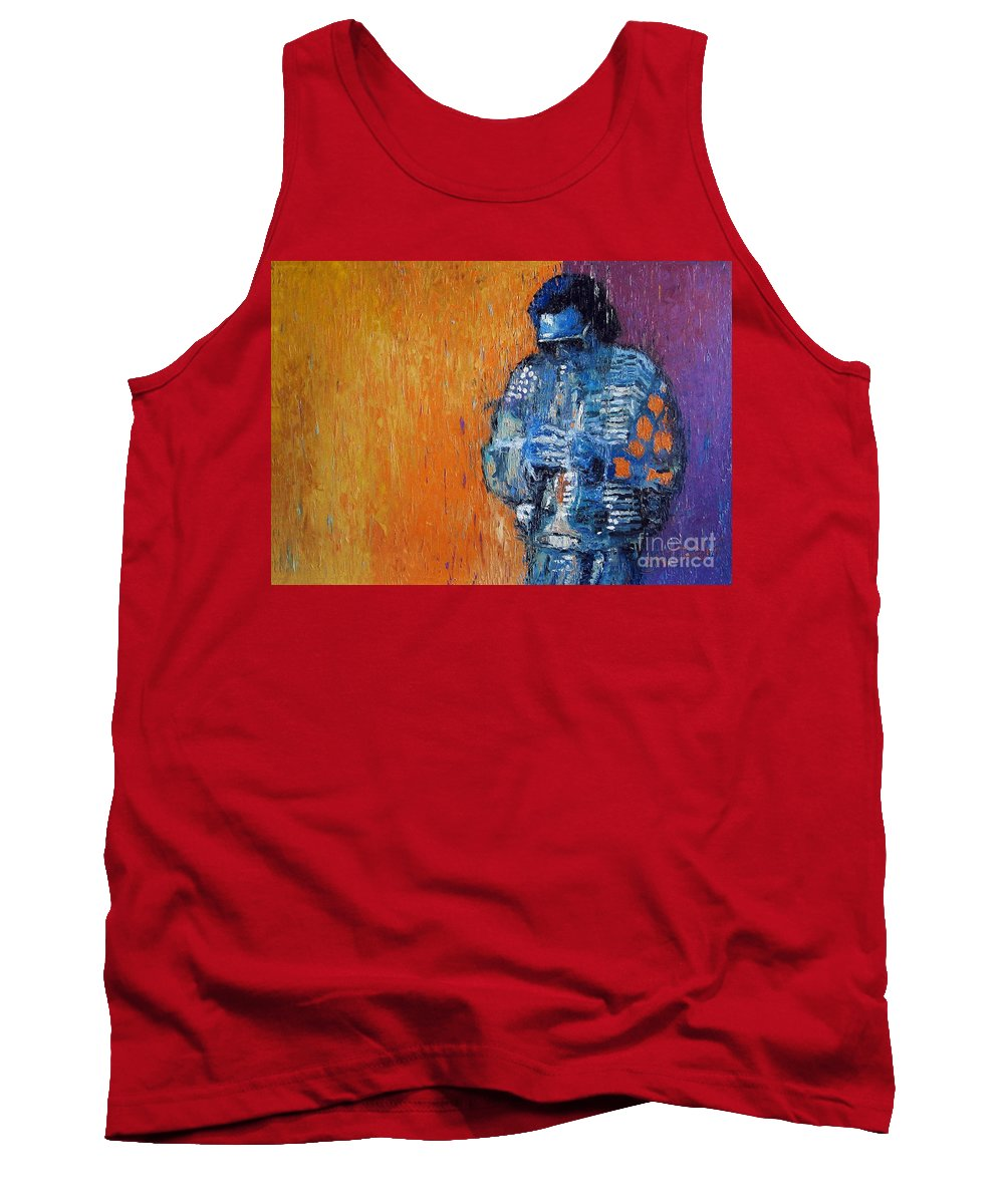 Jazz Tank Top featuring the painting Jazz Miles Davis 2 by Yuriy Shevchuk