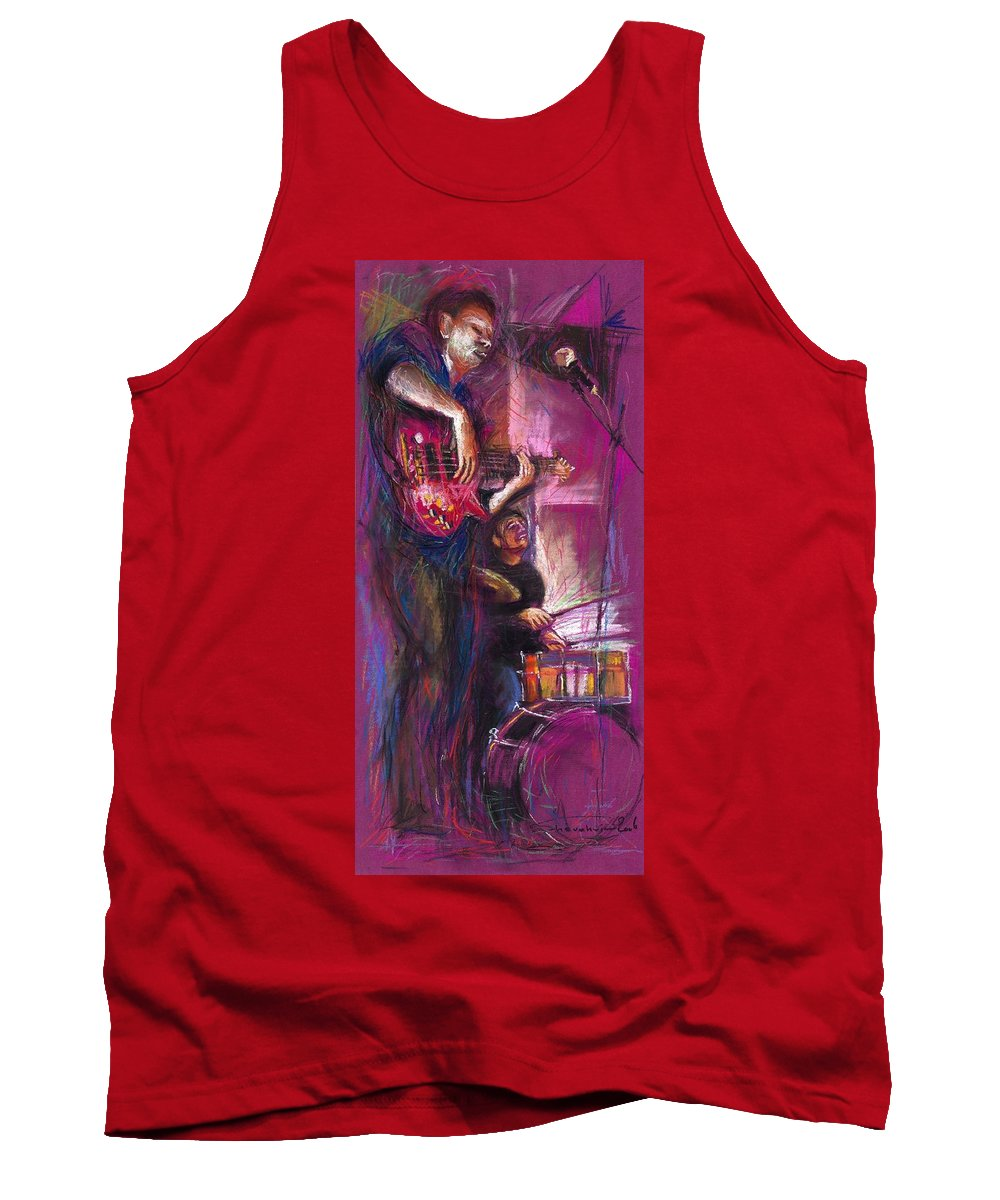 Jazz Tank Top featuring the painting Jazz Purple Duet by Yuriy Shevchuk