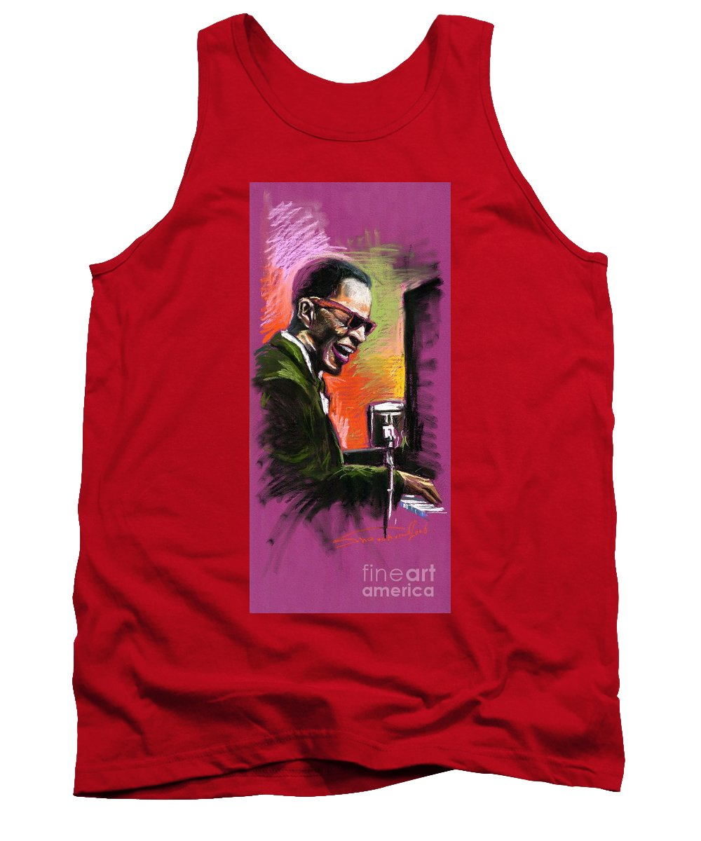Tank Top featuring the painting Jazz. Ray Charles.2. by Yuriy Shevchuk