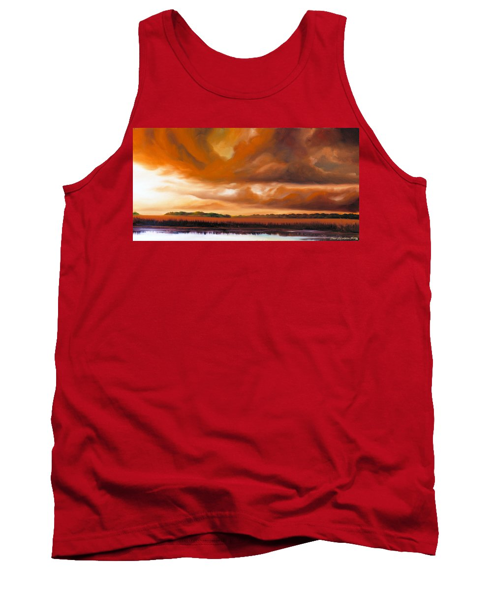 Clouds Tank Top featuring the painting Jetties On The Shore by James Christopher Hill