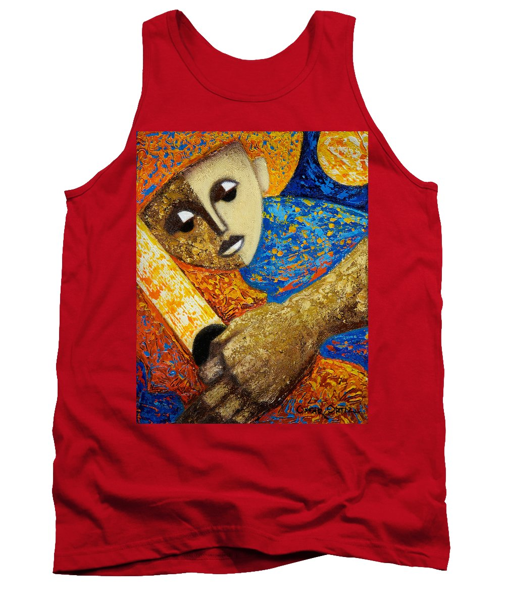 Color Tank Top featuring the painting Jibaro Y Sol by Oscar Ortiz
