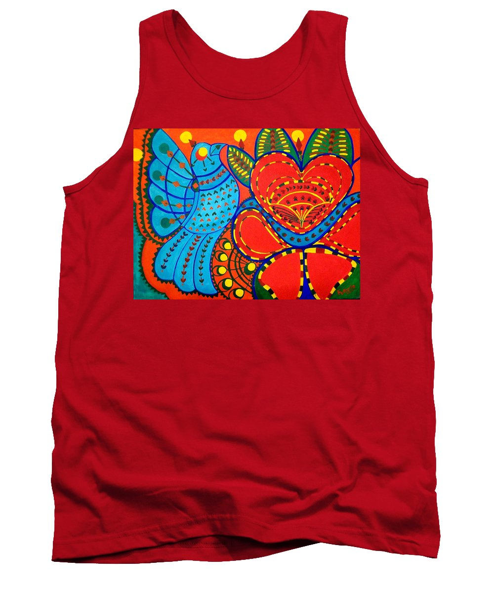 Contemporary Folk Tank Top featuring the painting Jinga Bird - Jinga Bird Series by Fareeha Khawaja