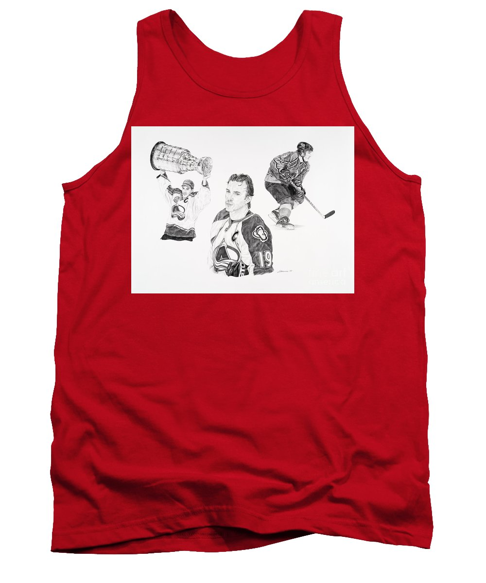 Hockey Tank Top featuring the drawing Joe Sakic by Shawn Stallings