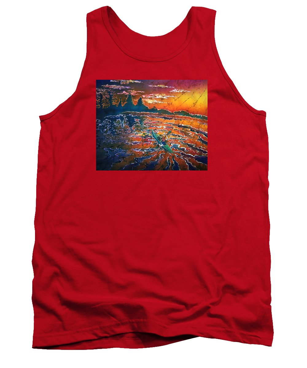 Kayak Tank Top featuring the painting Kayak Serenity by Sue Duda