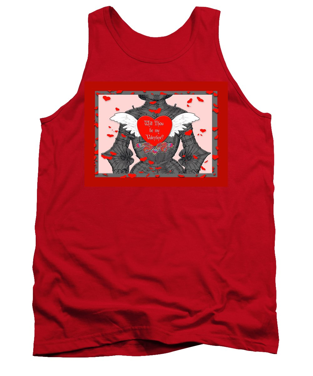 Valentines Day Card Tank Top featuring the digital art Knight Valentine by Melissa A Benson