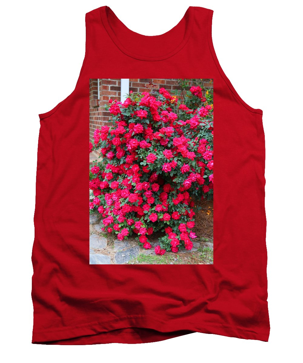 Red Rose Tank Top featuring the photograph Knockout Red Rosebush by Kathryn Meyer