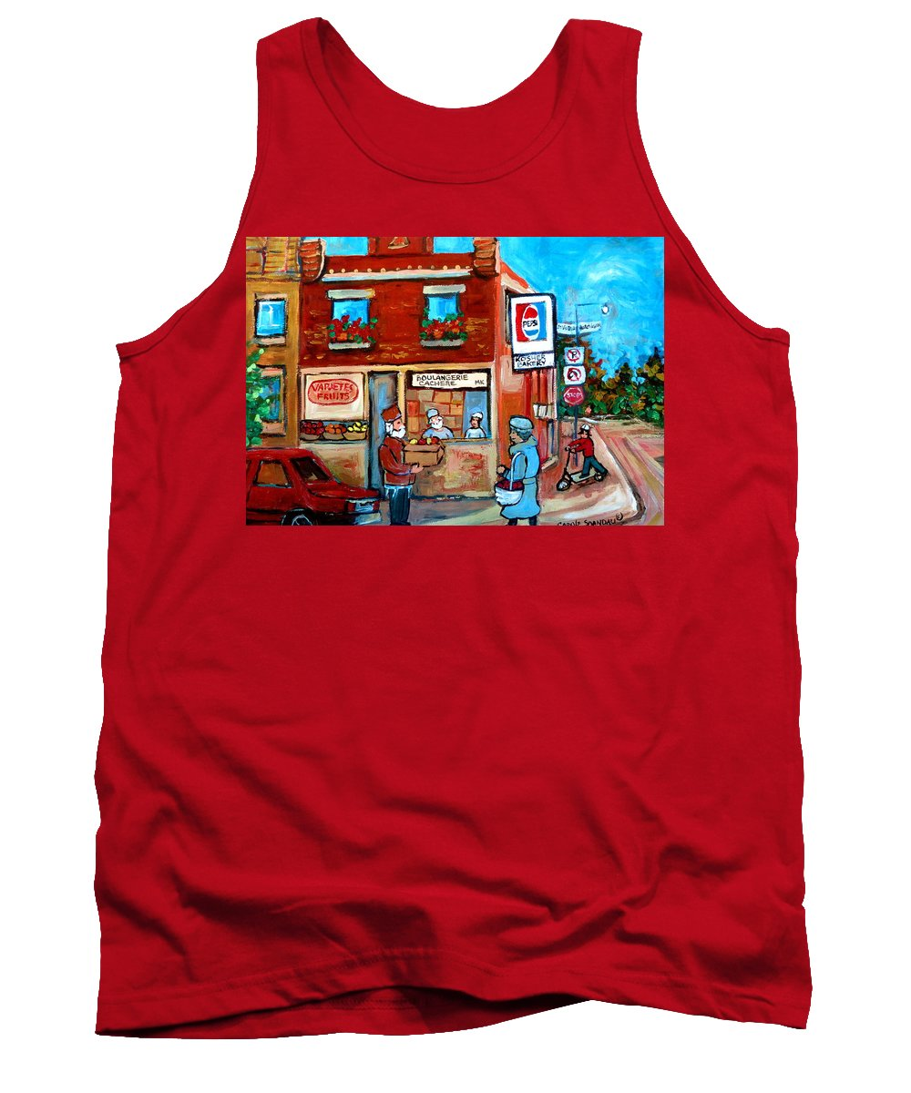 Kosher Bakery Tank Top featuring the painting Kosher Bakery On Hutchison Street by Carole Spandau