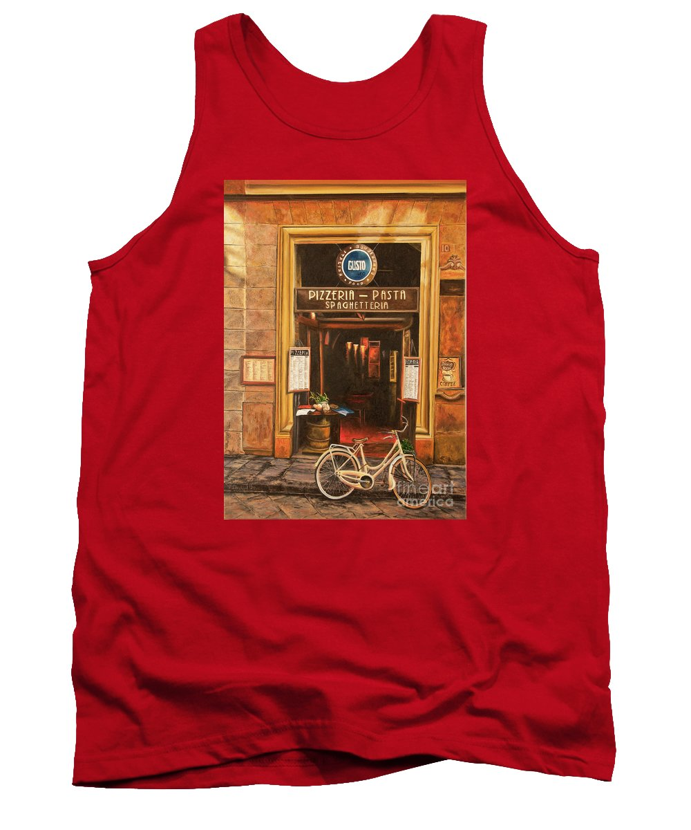 Italian Cafe Painting Tank Top featuring the painting La Bicicletta by Charlotte Blanchard