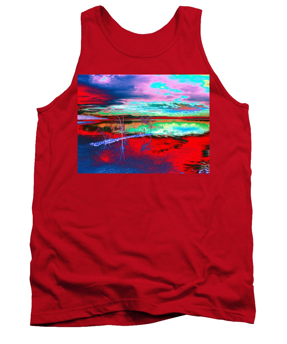 Sea Tank Top featuring the digital art Lake In Red by Helmut Rottler