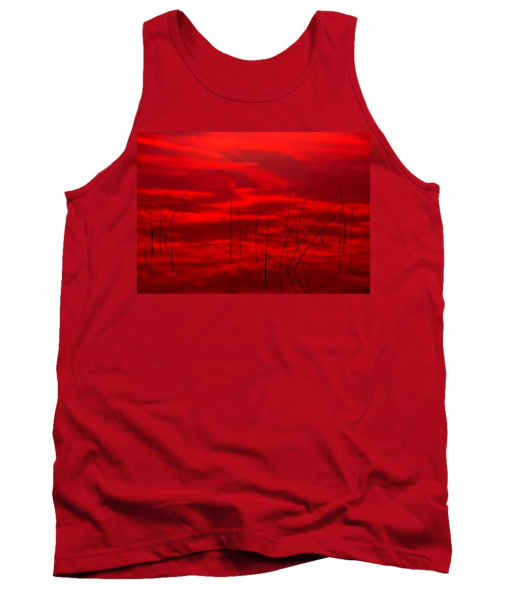 Lake Tank Top featuring the photograph Lake Reeds And Red Sunset by Irwin Barrett