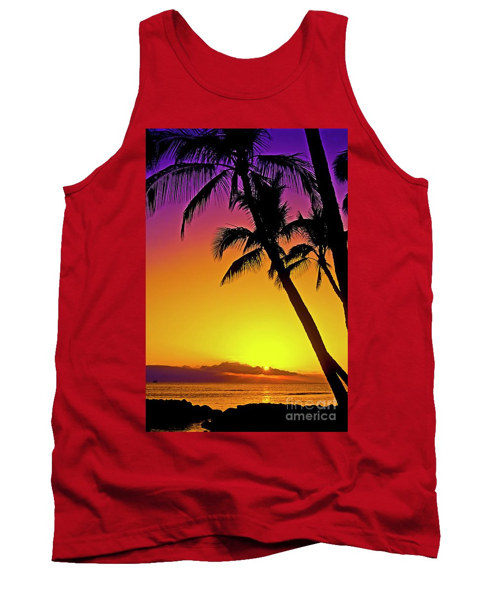 Sunset Tank Top featuring the photograph Lanai Sunset II Maui Hawaii by Jim Cazel