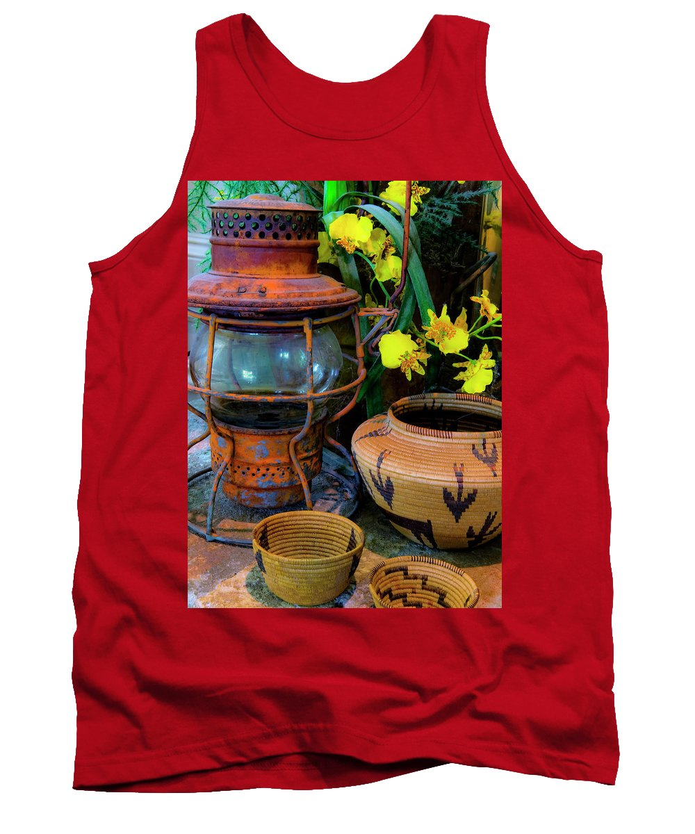 Lantern Tank Top featuring the photograph Lantern With Baskets by Stephen Anderson