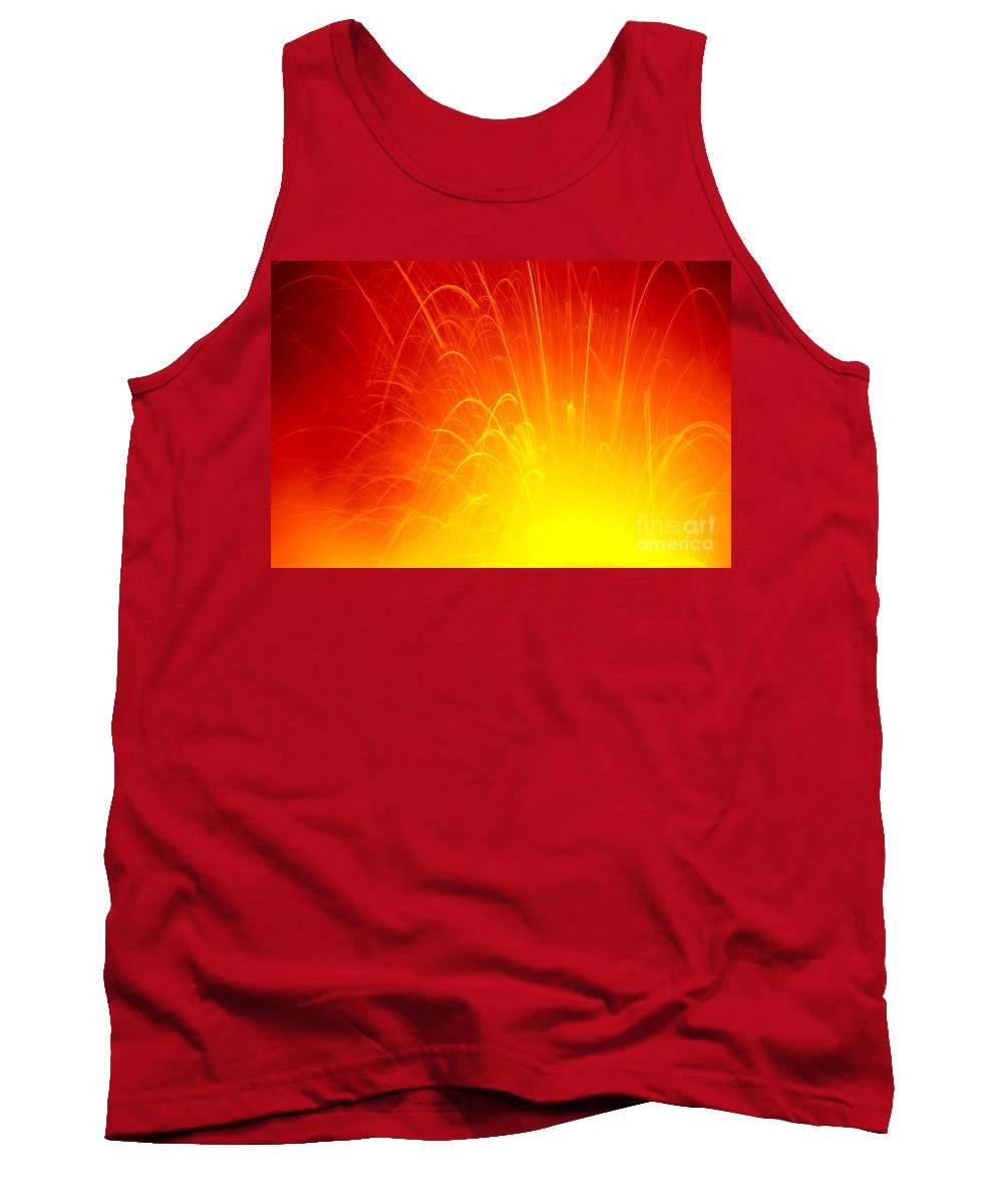 A'a Tank Top featuring the photograph Lava Explodes Into Ocean by Peter French - Printscapes