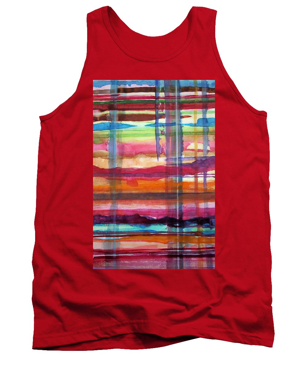 Abstract Tank Top featuring the painting Layered by Suzanne Udell Levinger
