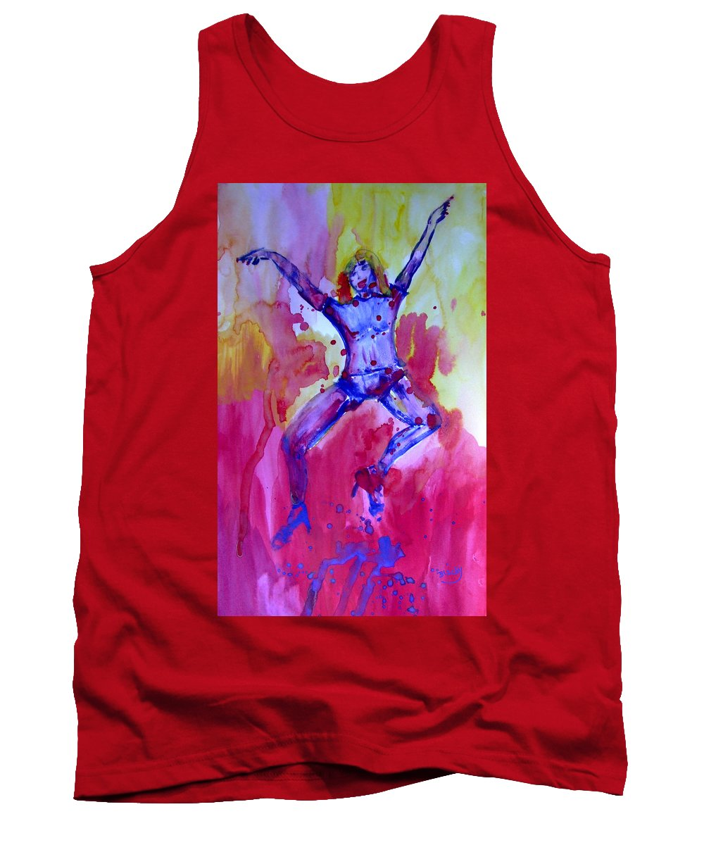 Red Tank Top featuring the painting Leap Of Faith by Donna Blackhall
