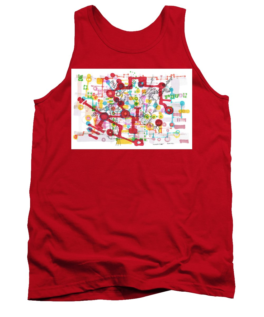 Learning Tank Top featuring the drawing Learning Circuit by Regina Valluzzi