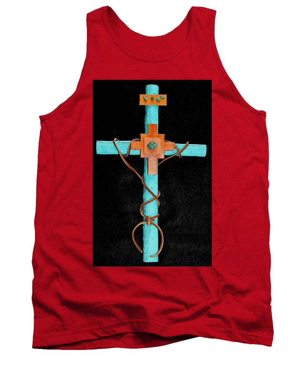 Leather Tank Top featuring the mixed media Leather And Stone Cross by M Diane Bonaparte