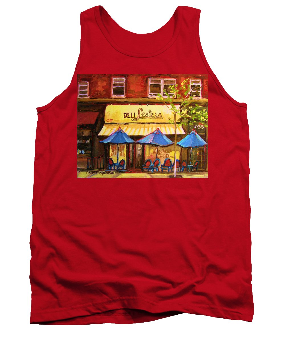 Lesters Deli Tank Top featuring the painting Lesters Cafe by Carole Spandau