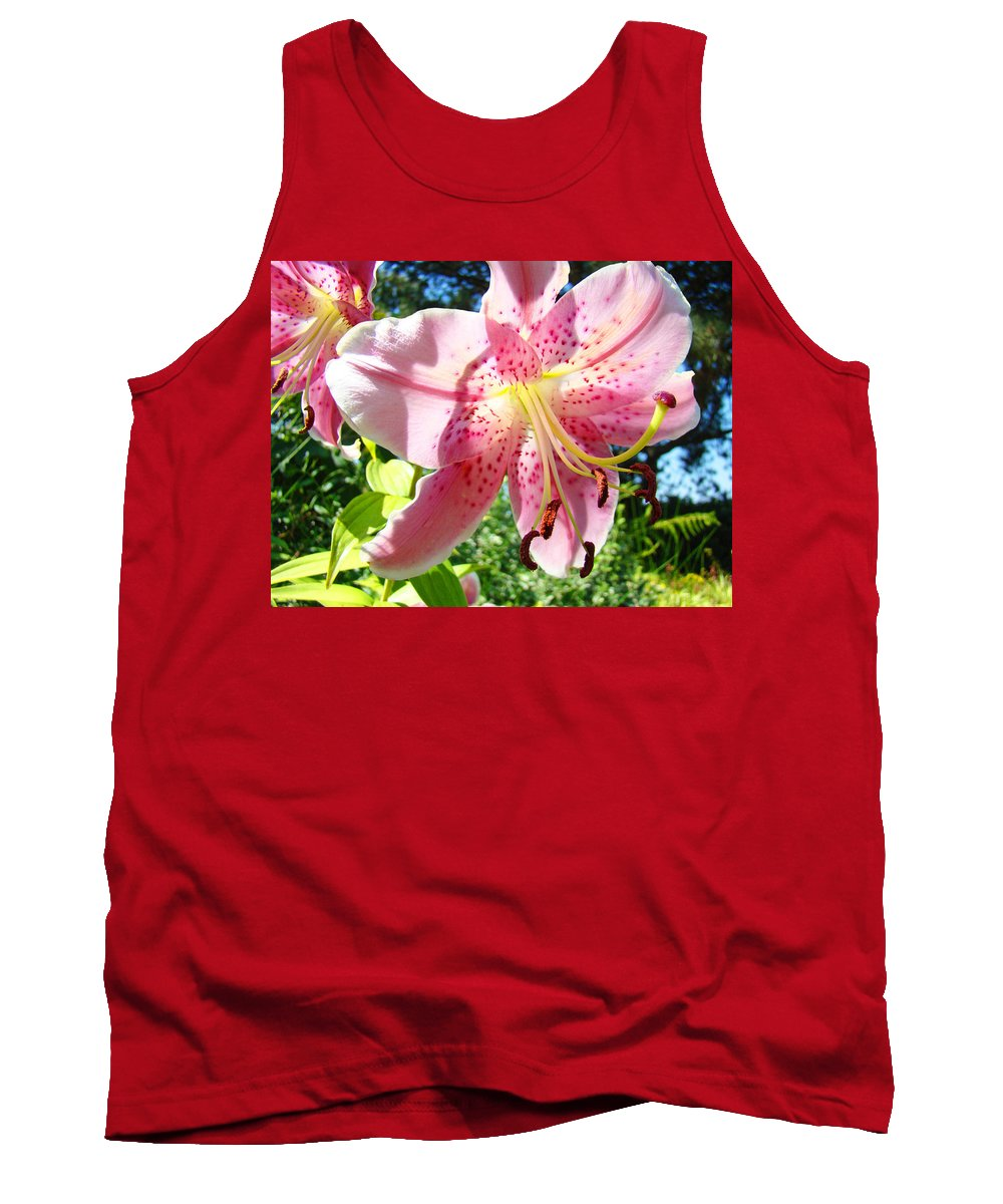 Lilies Tank Top featuring the photograph Lilies Art Prints Pink Lily Flowers 2 Giclee Prints Baslee Troutman by Baslee Troutman