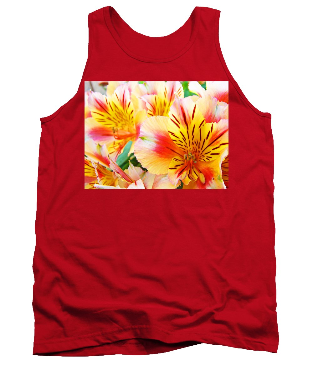 Lilies Tank Top featuring the photograph Lilies Art Prints Pink Yellow Lily Flowers 1 Giclee Prints Baslee Troutman by Baslee Troutman