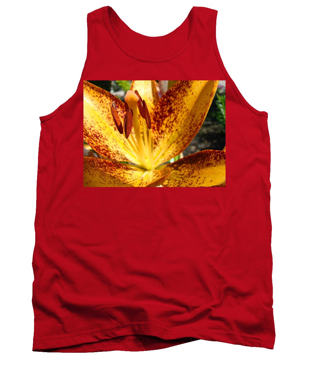 Lilies Tank Top featuring the photograph Lilies Glowing Orange Lily Flower Floral Art Print Canvas Baslee Troutman by Baslee Troutman