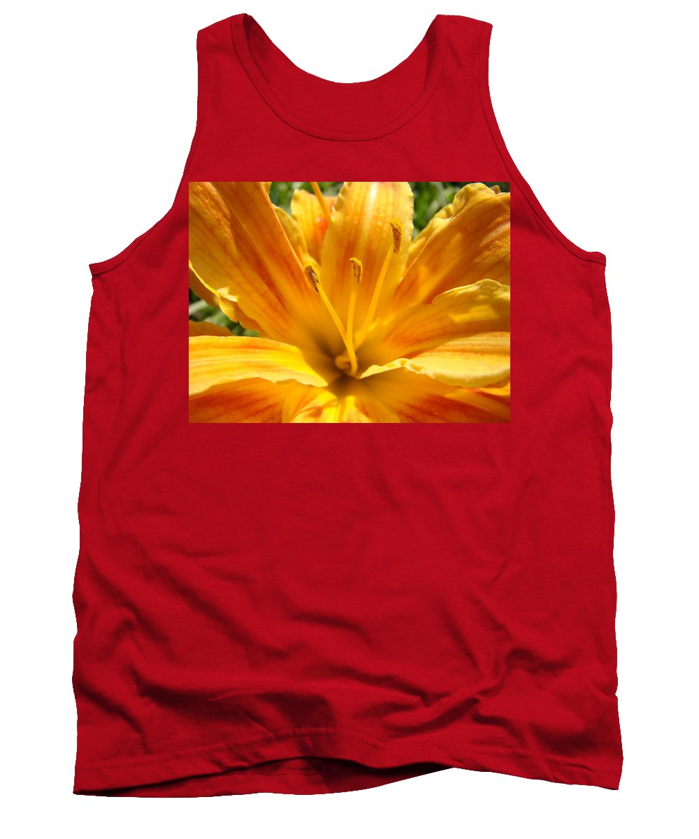 Lilies Tank Top featuring the photograph Lilies Orange Yellow Lily Flower 1 Giclee Art Prints Baslee Troutman by Baslee Troutman