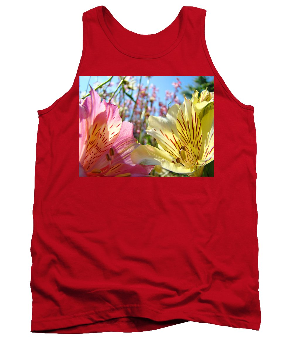Lilies Tank Top featuring the photograph Lilies Pink Yellow Lily Flowers Canvas Art Prints Baslee Troutman by Baslee Troutman