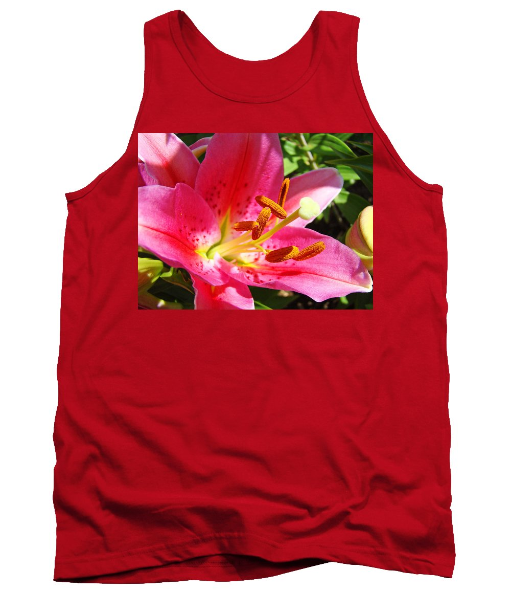 Lilies Tank Top featuring the photograph Lily Flower Pink Lilies Giclee Art Prints Baslee Troutman by Baslee Troutman