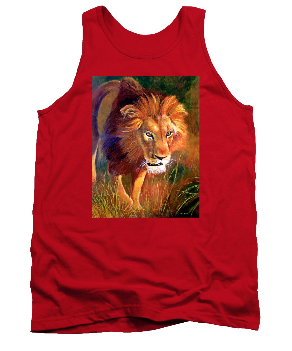 Lion Tank Top featuring the painting Lion At Sunset by Michael Durst