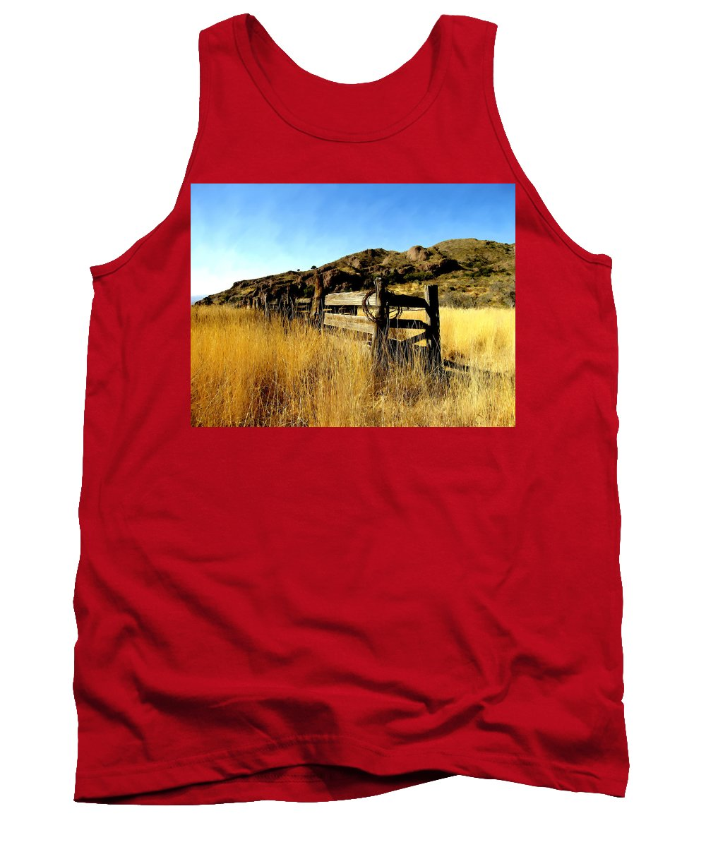 Southwestern Tank Top featuring the photograph Livery Fence At Dripping Springs by Kurt Van Wagner