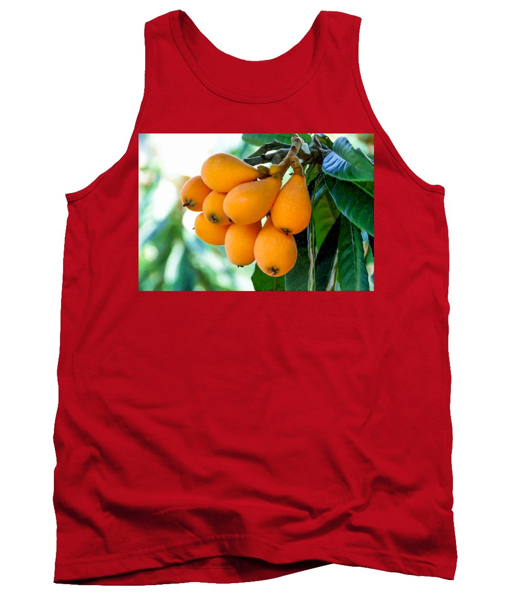 Loquats In The Tree Tank Top featuring the painting Loquats In The Tree 5 by Jeelan Clark