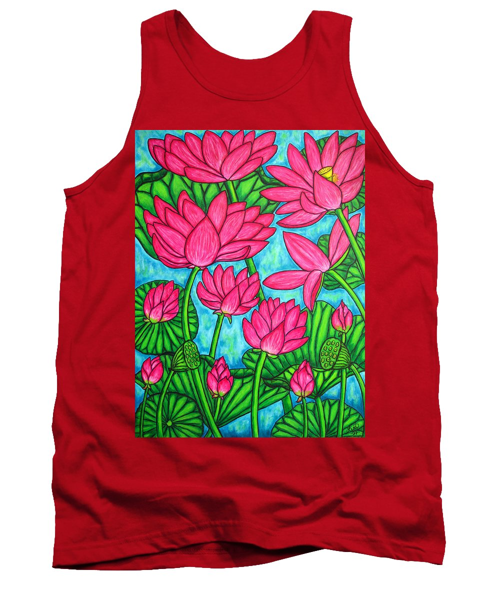 Tank Top featuring the painting Lotus Bliss by Lisa Lorenz