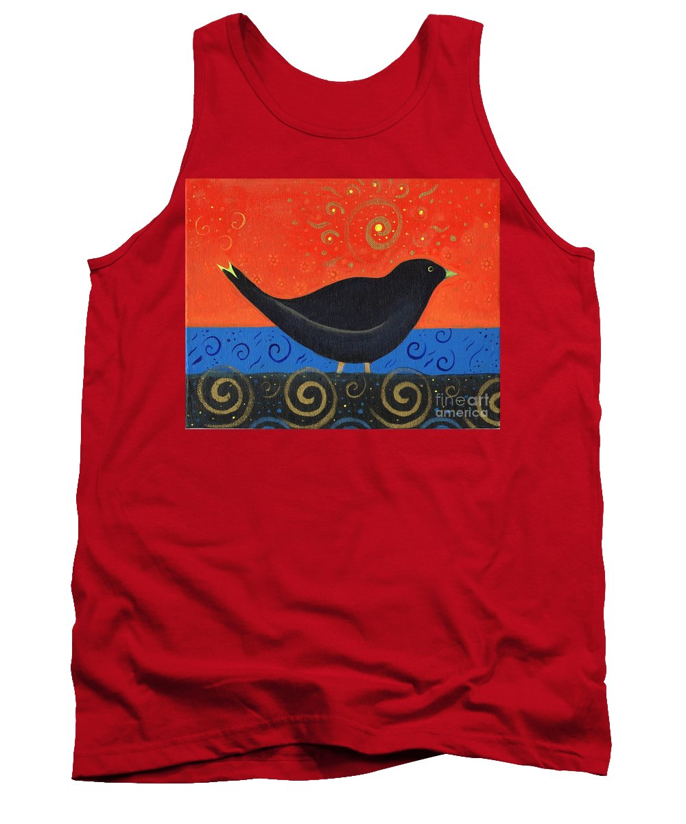 Black Bird Tank Top featuring the painting Love Of Birds by Helena Tiainen