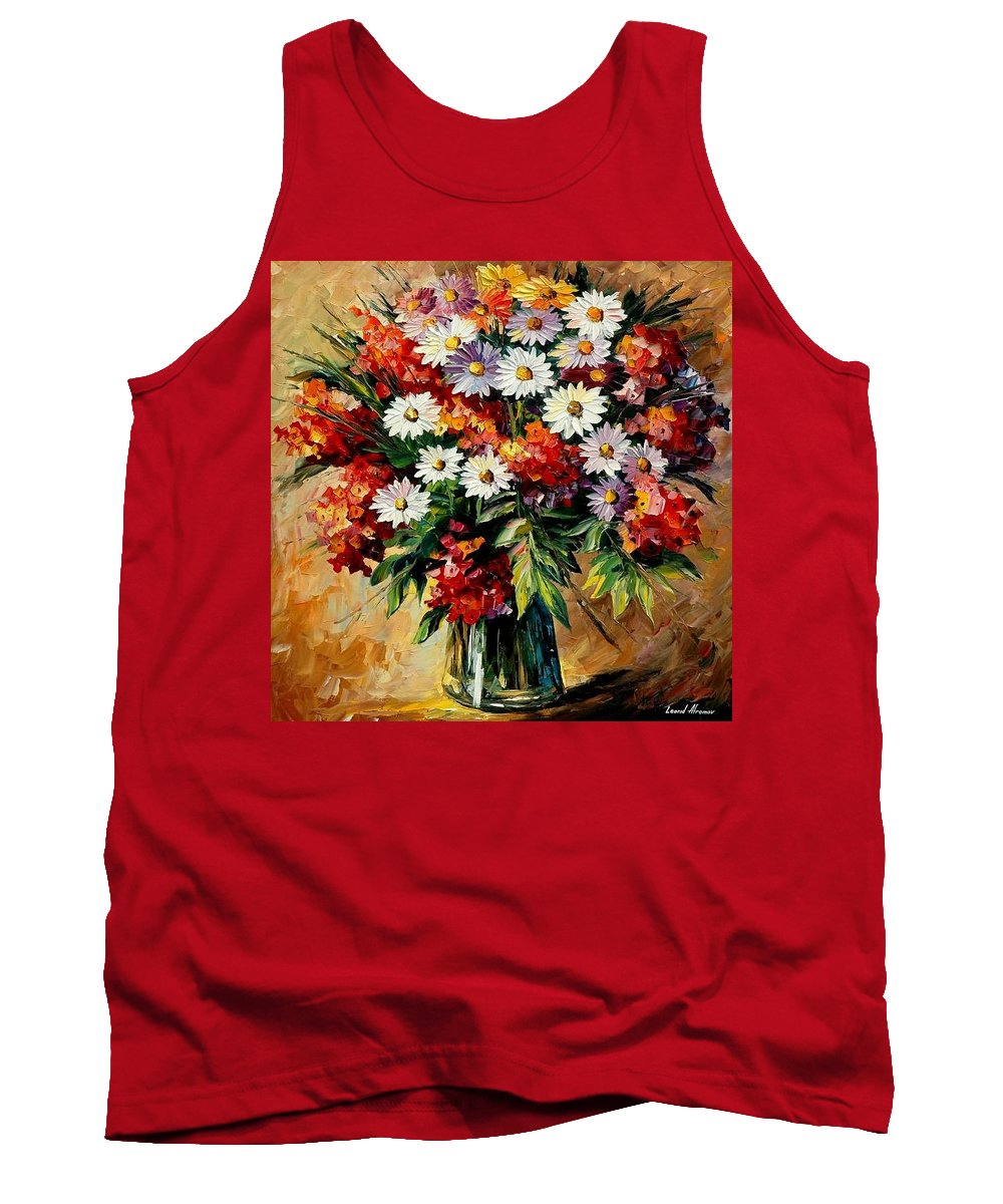 Still Life Tank Top featuring the painting Lovely Bouquet by Leonid Afremov