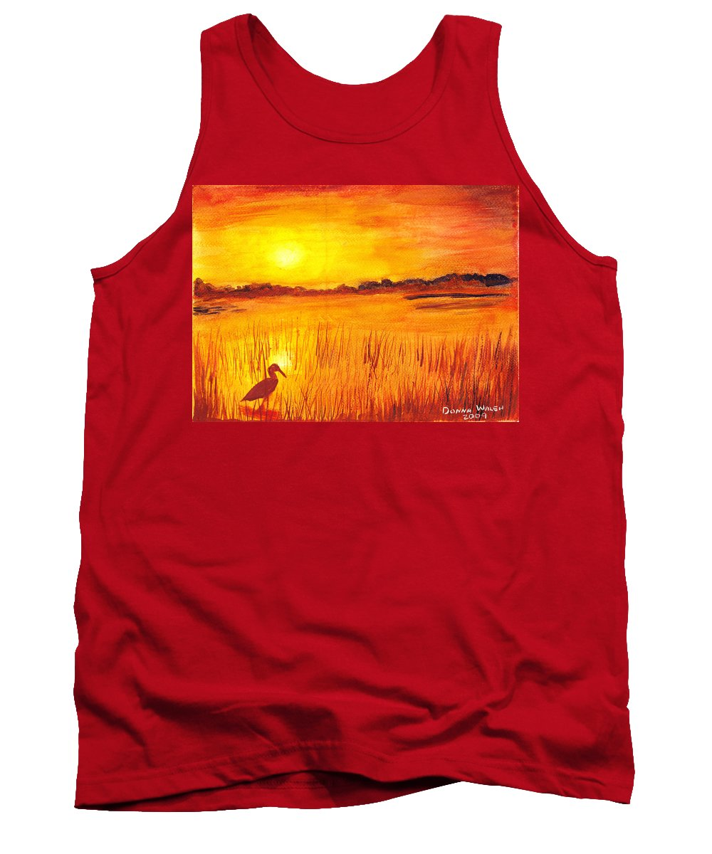 Loxahatchee Sunrise Tank Top featuring the painting Loxahatchee Sunrise by Donna Walsh