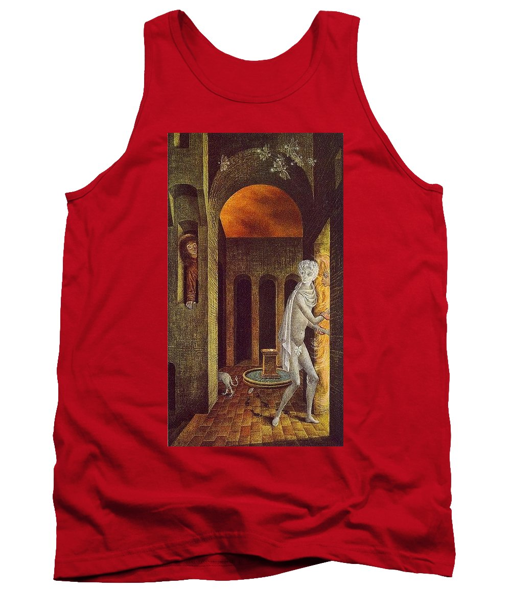 Throne Tank Top featuring the digital art lrs Varo Remedios Encuentro2 Remedios Varo by Eloisa Mannion