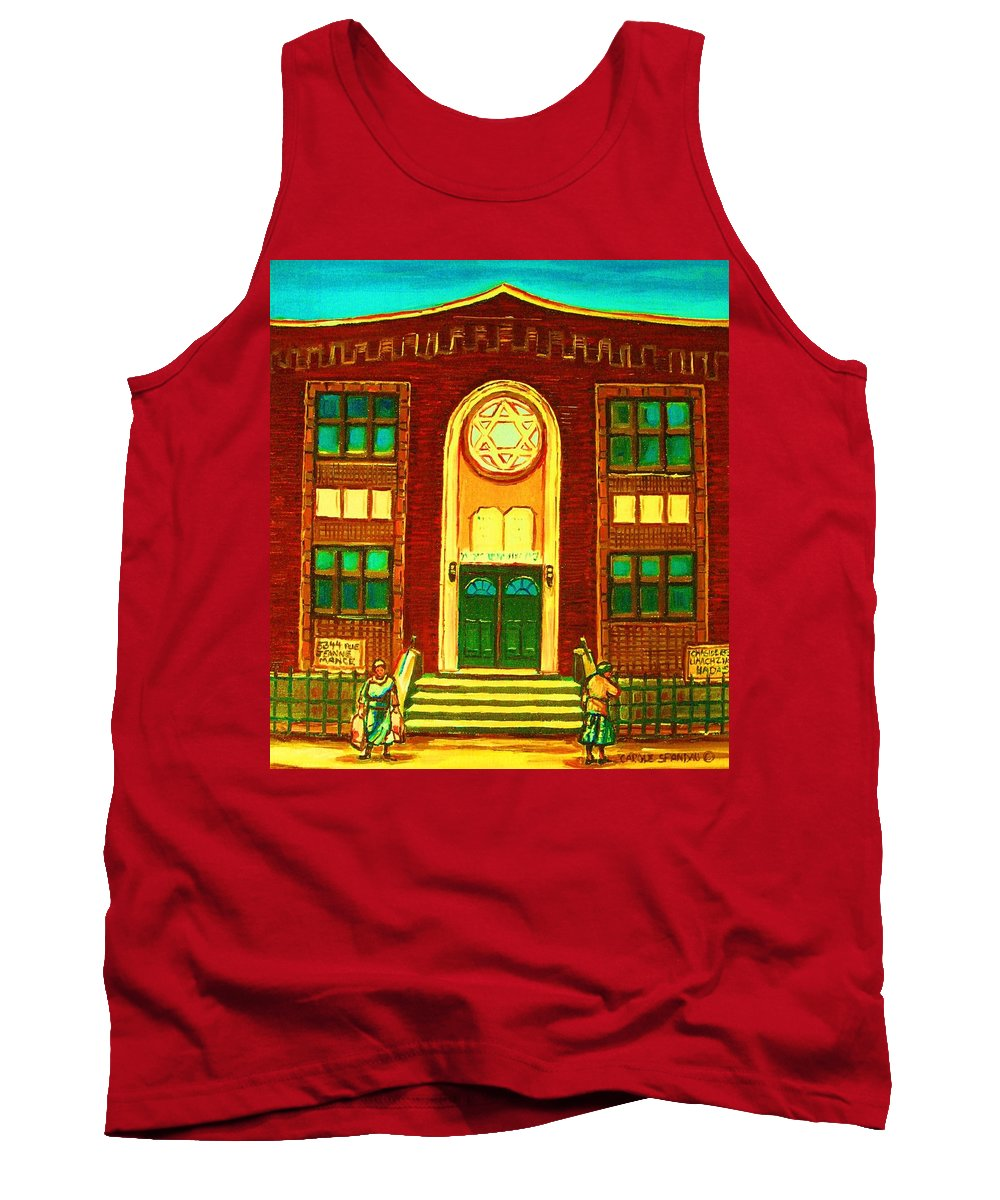 Judaica Tank Top featuring the painting Lubavitch Synagogue by Carole Spandau