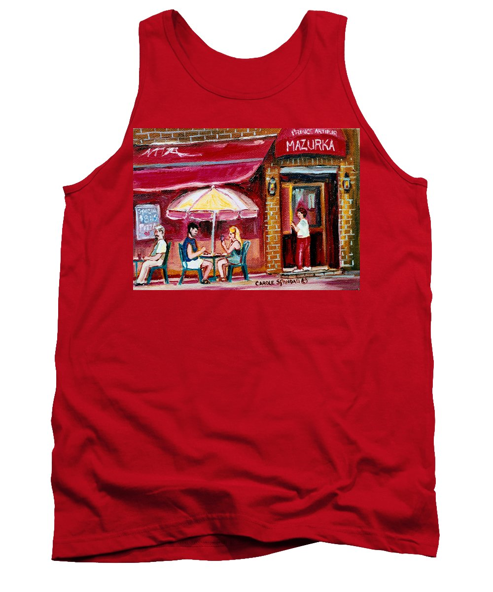 Mazurka Restaurant Tank Top featuring the painting Lunch At The Mazurka by Carole Spandau