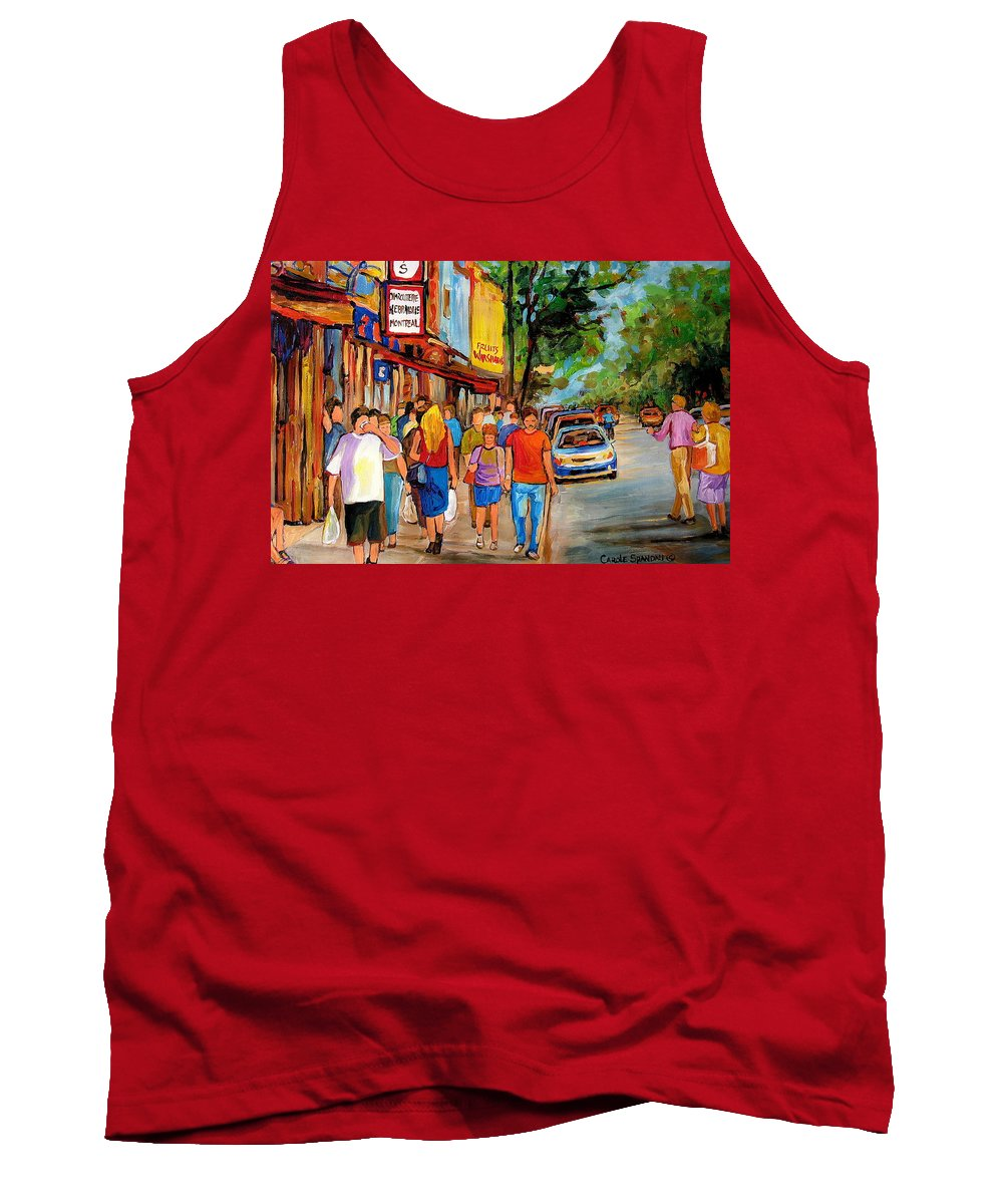 Montreal Streetscenes Tank Top featuring the painting Lunchtime On Mainstreet by Carole Spandau