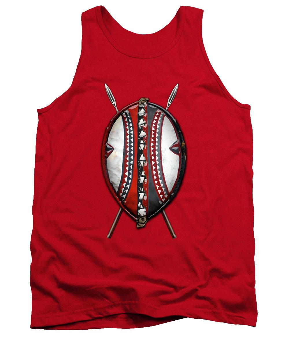 Maasai War Shield With Spears On Red Velvet Tank Top