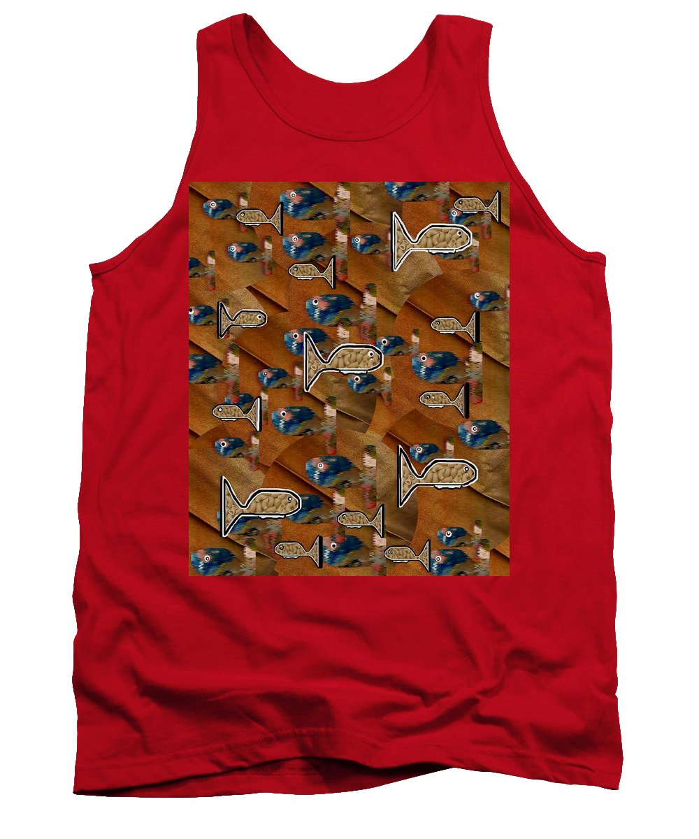 Acryl Tank Top featuring the mixed media Macaroni For Dinner by Pepita Selles