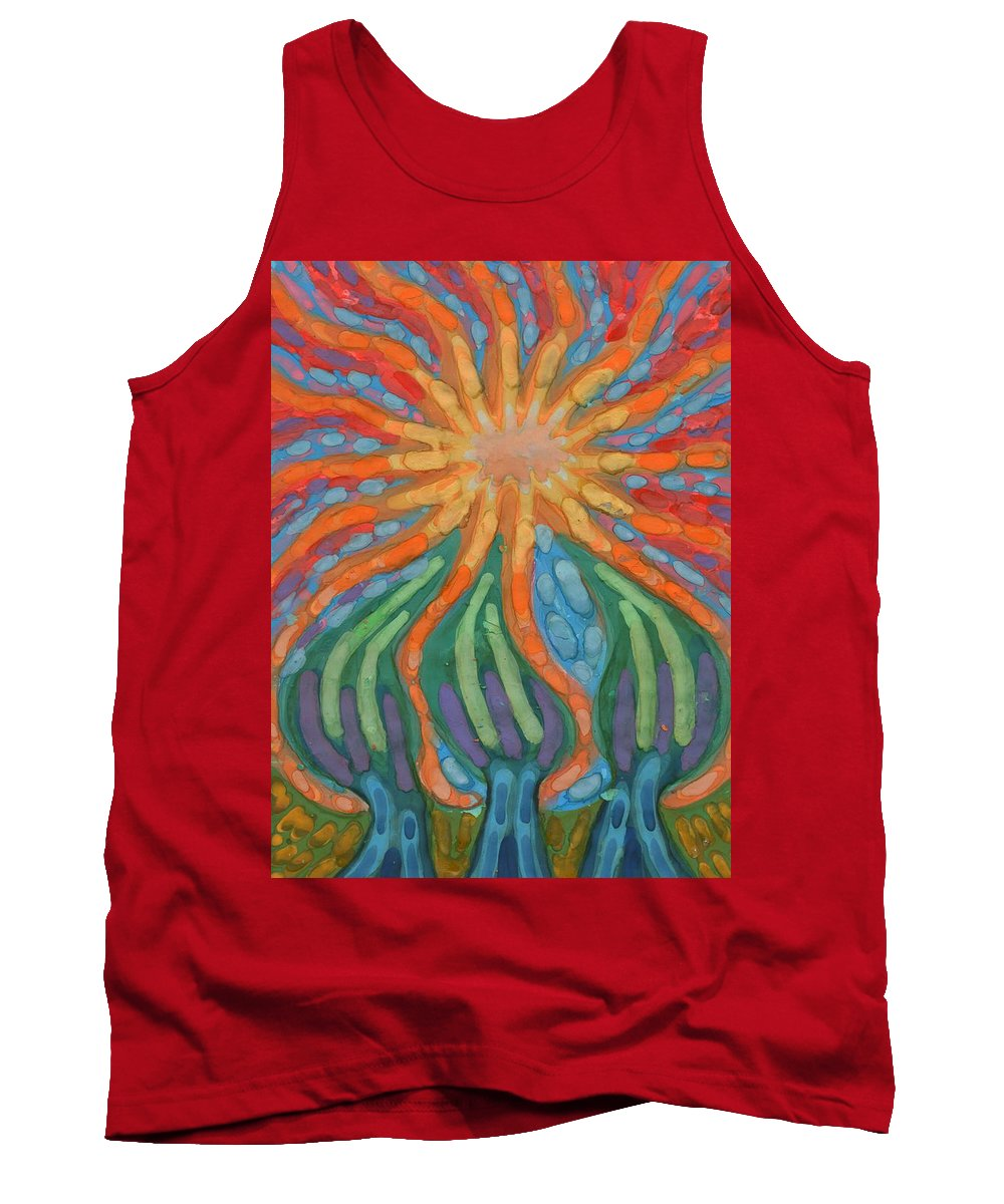 Colour Tank Top featuring the painting Mad Sun by Wojtek Kowalski
