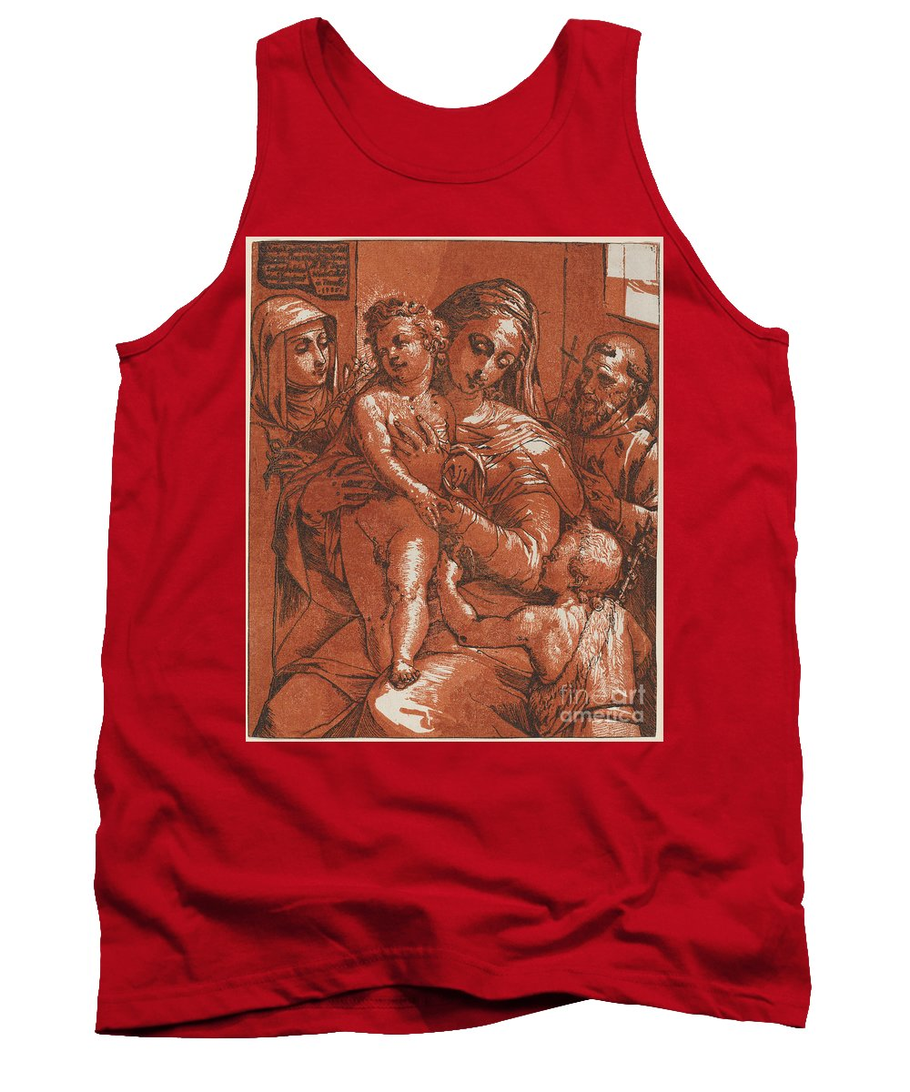 Tank Top featuring the drawing Madonna And Child Accompanied By Saints by Andrea Andreani After Jacopo Ligozzi