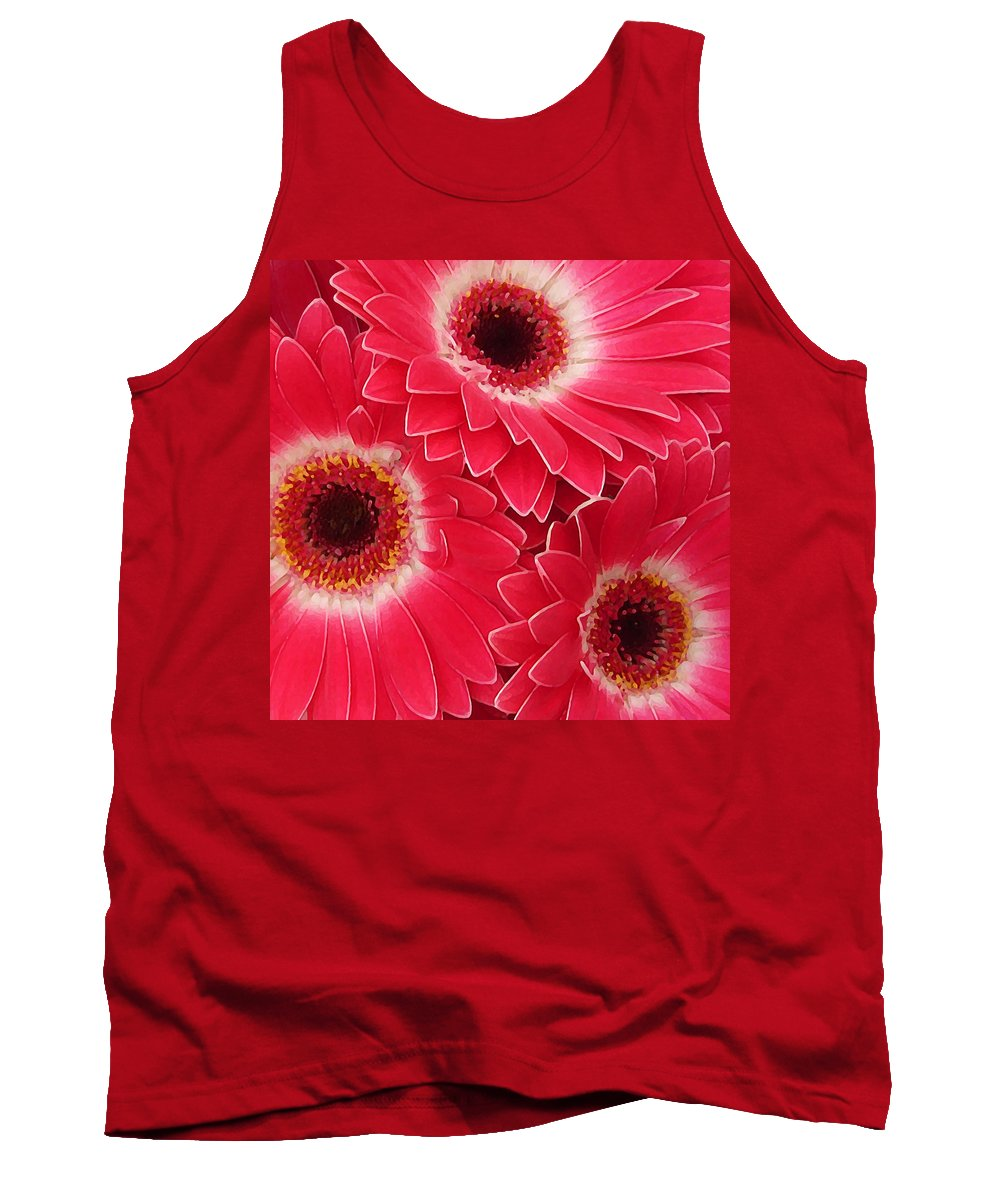 Daisy Tank Top featuring the painting Magenta Gerber Daisies by Amy Vangsgard