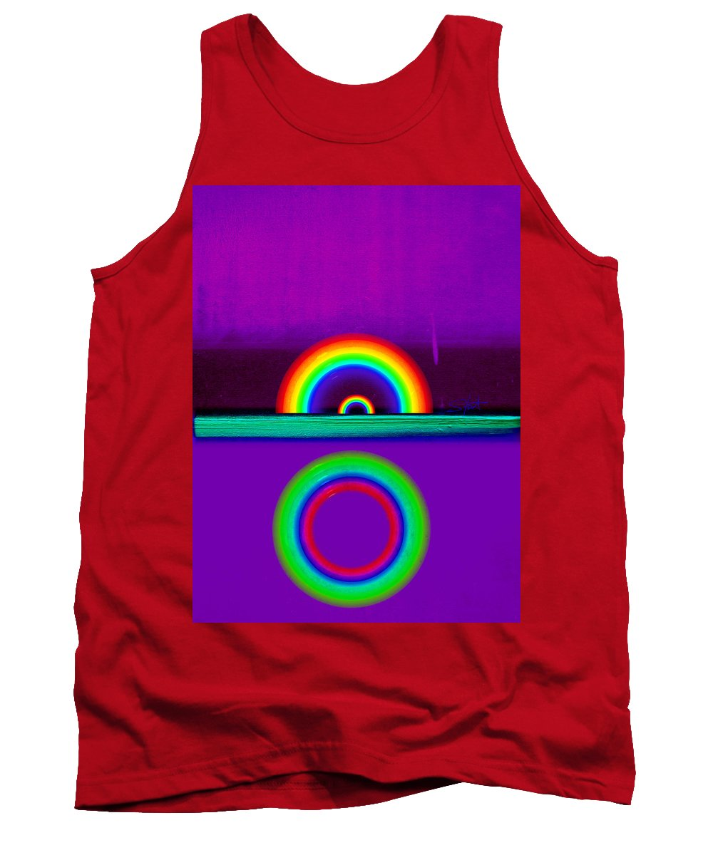 Rainbow Tank Top featuring the painting Magenta Sunset by Charles Stuart