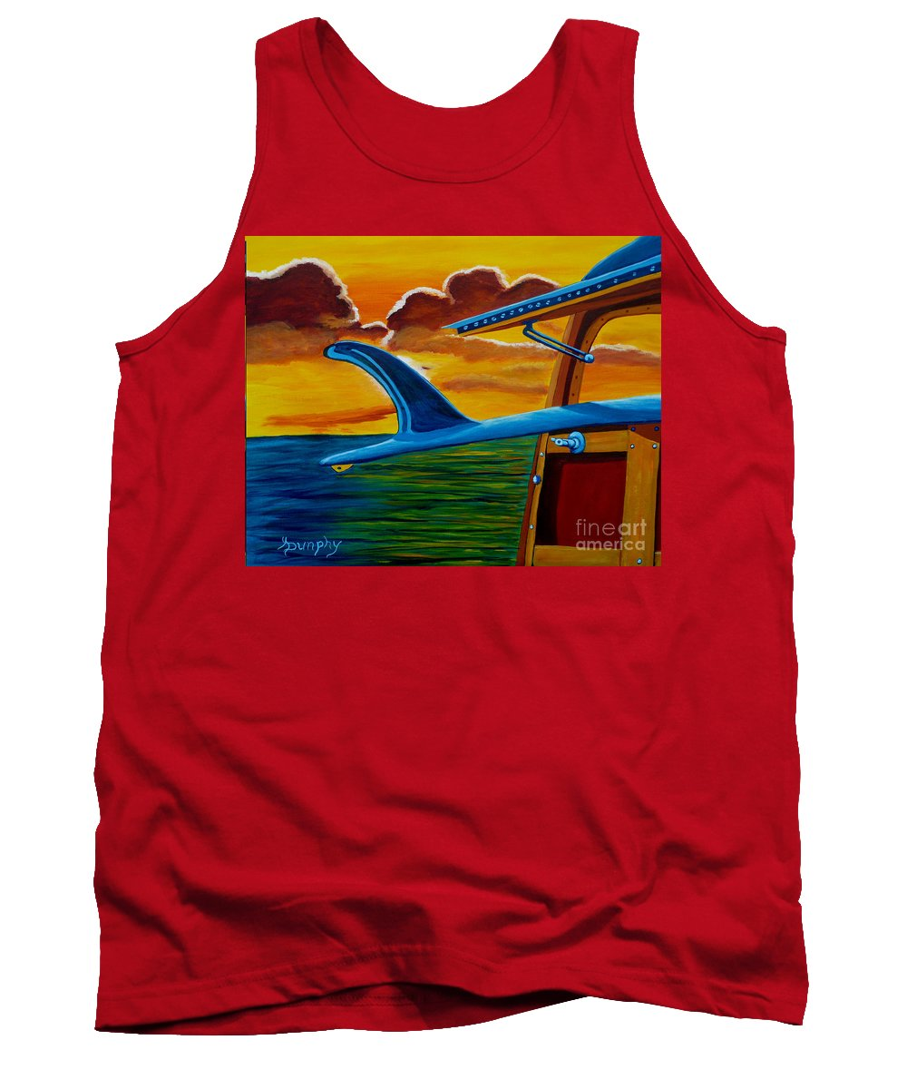 Surfing Tank Top featuring the painting Malibu Sunrise by Anthony Dunphy